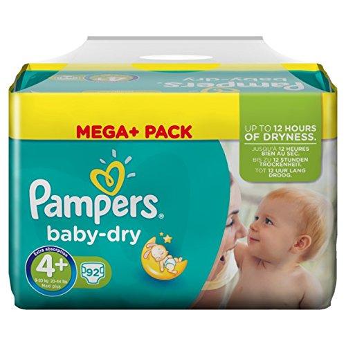 Pampers Baby-Dry Maxi+ Windeln, Größe 4+, 92Stück, Universal, Einweg