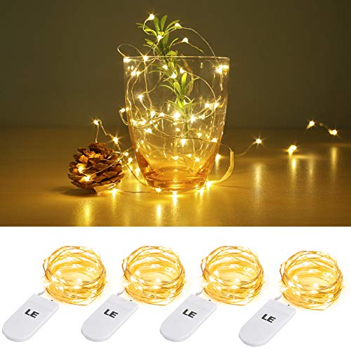 LE Small Fairy Lights Battery Powered, 1M 20 LED Mini String Lights, Warm White, Waterproof Copper Wire Lights for Bedroom, Wedding Decorations, Party and More, Pack of 4