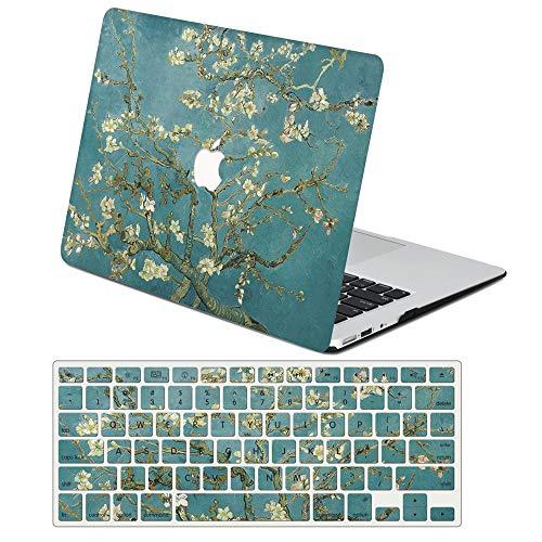 AJYX Coque pour MacBook 12 Pouces 2017 2016 2015 Modèle A1534 Plastique Protection Coque Rigide Case Cover & Protection Clavier pour Mac 12'' avec Retina Display - Fleur d'amandier