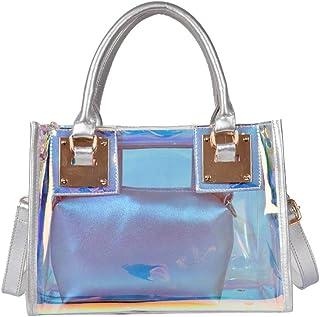 OneMoreT Petit sac /à dos transparent en gel/ée pour femme silver