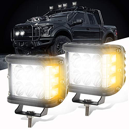 PSEQT Dual Side Shooter, LED Offroad Strobe Light Pods Emergency Warning Work Lights Bar Spot Flood Combo Fog Driving Light for Jeep Truck Trailer Pickup Boat Car SUV ATV RV (2PCS White&Amber)