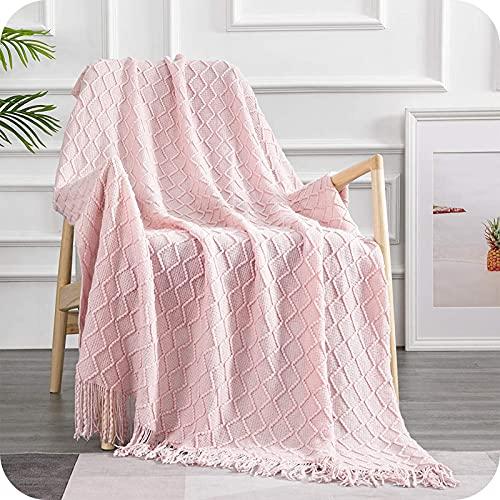 Topfinel Manta de Punto para Sofá o Cama Algodón Diseño Nórdico Cálida Suave con Flecos para Siesta Silla Playa Cubrecama Sobrecama Niño 130x150cm Rosa