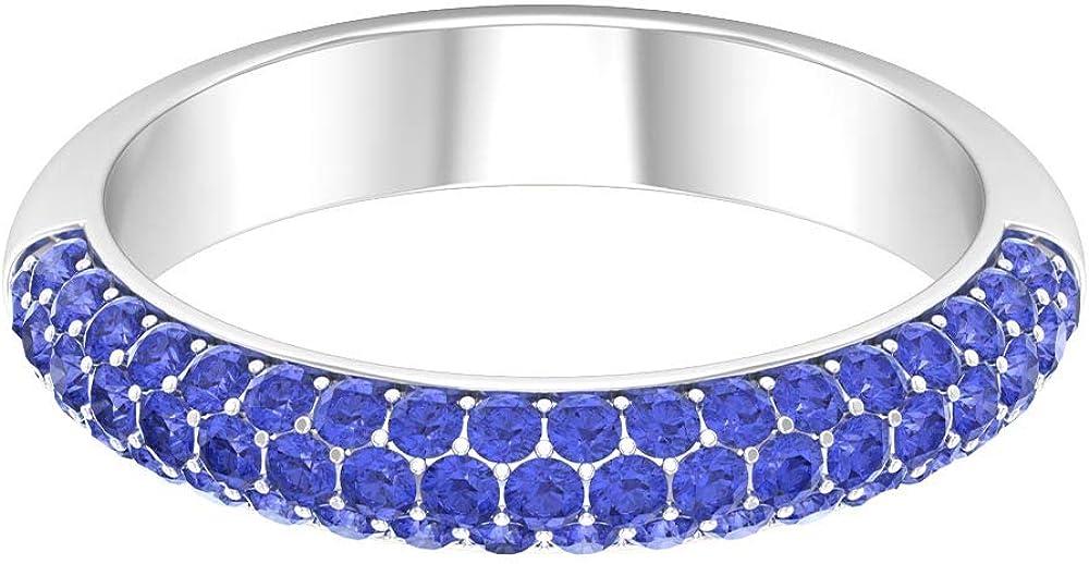 Round Shape Tanzanite Ring, 1 CT Blue Gemstone Ring, December Birthstone Ring, Wedding Band Ring, Half Eternity Band, Anniversary Ring, 14K Gold