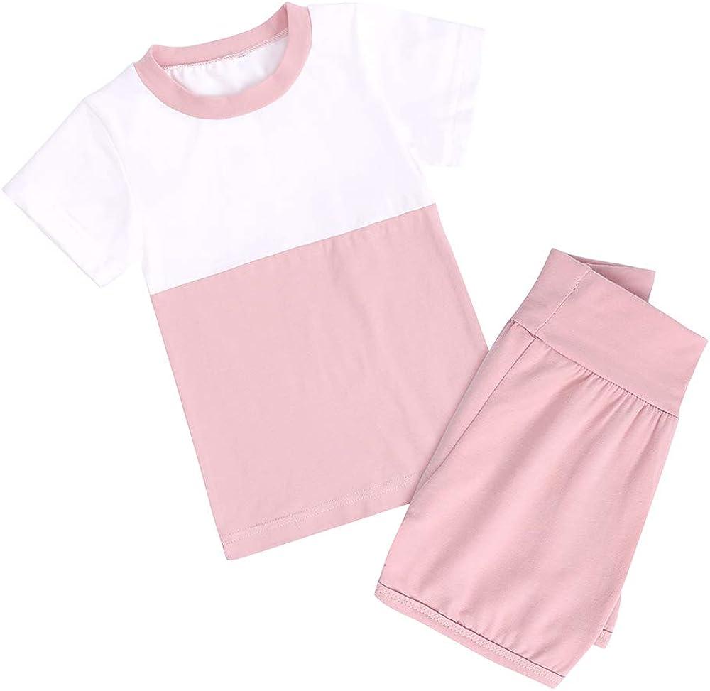 Kids Boys Girls Splicing Color Outfits Set 2Pcs Short Sleeve Loungewear Pajamas Toddler T-shirt + Shorts Sleepwear PJS
