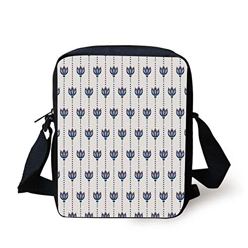Asian,Ottoman Tiles Inspired Bohem Ethnic Tulip Flowers and Polka Dots Image Decorative,Red Navy Blue and White Print Kids Crossbody Messenger Bag Purse