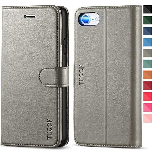 TUCCH iPhone SE 2020 Hülle, iPhone 8 Schutzhülle, Stoßfeste Handyhülle [Standfunktion] [Verdicktes TPU] [Kartenfach] [Magnetverschluss] Klapphülle für iPhone SE2/8/7 (4,7 Zoll) Grau
