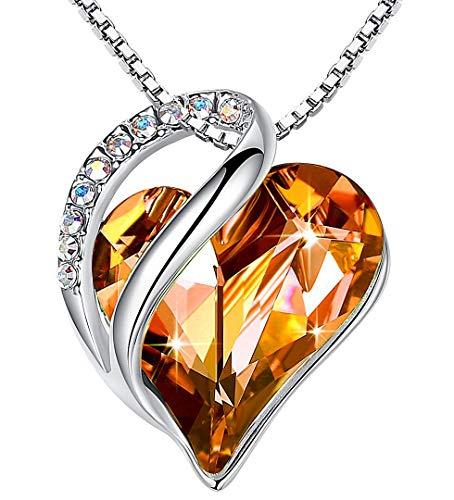 Leafael Infinity Collar con colgante de corazón de amor, ámbar, marrón, noviembre, piedra natal, joyería de cristal, regalos para mujeres, tono plateado, 18 '+2'