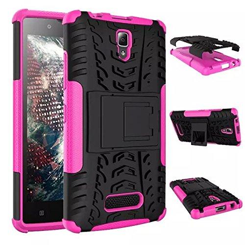 Für Lenovo A2010,Sunrive Hülle Tasche Schutzhülle Etui Hülle Cover Hybride Silikon Stoßfest Handyhülle Hüllen Zwei-Schichte Armor Design Tasche mit schlagfesten mit Ständer Slim Fall(rosa)+Gratis Universal Eingabestift