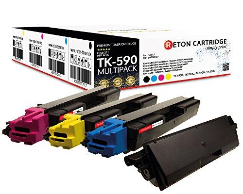 4 Original Reton Toner kompatibel nach (ISO-Norm 19798) ersetzten TK-590K, TK-590C, TK-590M, TK-590Y für Kyocera ECOSYS M6026CDN / ECOSYS M6526CDN / Kyocera FS-C5250DN / Kyocera FS-C2026MFP