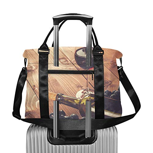 Flasche Glas Rotwein Traube Kork Herren Wochenendtasche Extra große Reisetaschen für Koffer Leichte Reisetasche für Frauen Faltbar für Männer Frauen