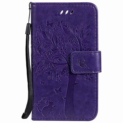 Yiizy telefoonhoes voor LG K3 (2017) hoes, boom-patroon ontwerp PU lederen tas tas tas leder huid shell skin beschermhoes cover staande kaarthouder stijl bescherming (lila)