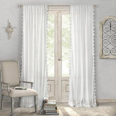 Elrene Home Fashions Rod Pocket Tassel Trim Single Panel Window Curtain Drape, 52 x84 , White