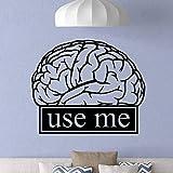 wZUN Cerebro Aula Trabajo Educación Motivación Signo de Oficina Citas de Ciencia Pegatinas de Pared Estudio Decoración de la habitación Vinilo 50X61cm