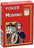 Modiano Cartes Jeu 482–Poker Cristallo, 4Index Rouge