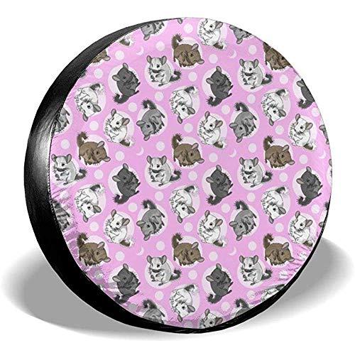 N/A Copriruota Ruota di scorta Chinchillas Moon Medium Pink Potable Polyester Universale Impermeabile Antipolvere Protezione Solare Fit Universale