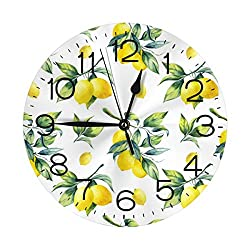 N/W Light Lemon Wall Clock 10 Round,- Battery Operated Wall Clock Clocks for Home Decor Living Room Kitchen Bedroom Office