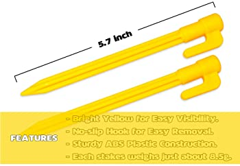 Hikemax 10//30 Pack Plastic Tent Stakes Essential Gear for Camping Gardening and More 9 Inch Heavy Duty Beach Tent Pegs Canopy Stakes with Pouch Backpacking