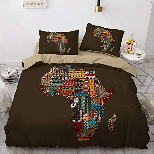 SSLLC 3-teiliges Bettwäsche-Set, Boheme, Exotisch, Ethno-Stil, Mandala, Bettwäsche, Mikrofaser, 3D-Design, afrikanische Kultur, Bettbezug aus Polyester, Bettwäsche (A09,King 220 x 240 cm)