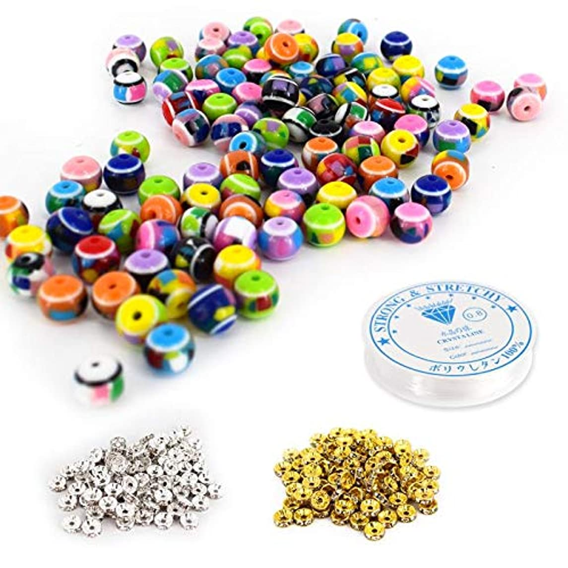300pcs Resin Round Beads 8mm Handmade Bulk Beads Flower Pattern Beads for DIY Beading Jewelry with 100 Pcs Spacer Beads & 1 Roll Crystal String for Jewelry Making(Resin Beads, 8mm)
