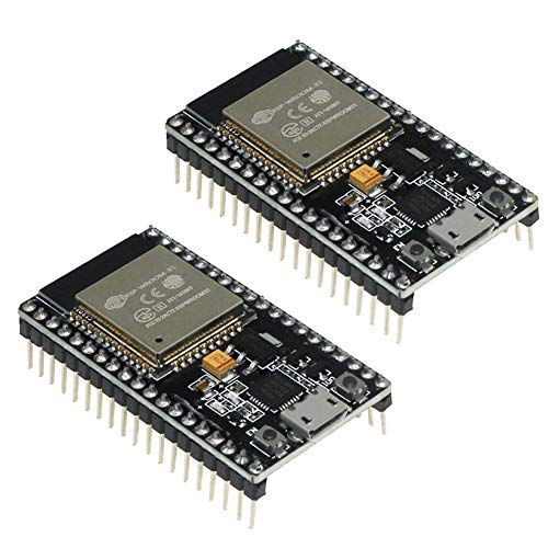 KeeYees Placa de Desarrollo 2.4 GHz Dual Core WLAN WiFi + Bluetooth Microcontrolador 2 en 1 ESP-WROOM-32 Chip CP2102 para ESP32 para Arduino (2PCS)