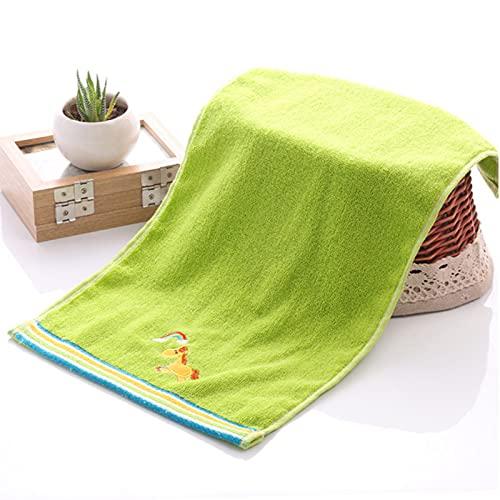 Toalla de baño 100% algodón animal bordado niño S grueso absorbente bebé cara lavado toalla pequeña 25 x 50 cm (sólo las toallas), verde