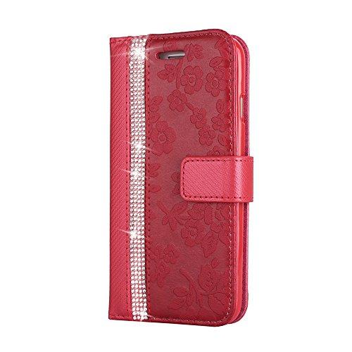 XINYIYI Luxus Diamant PU Leder Klapphülle für Galaxy S6 Edge Rot, Bling Glitzer Wallet Case mit Blumen Vintage Muster Entwurf Schutzhülle Standfunktion Kartenfach Magnetverschluss Etui für Samsung Galaxy S6 Edge