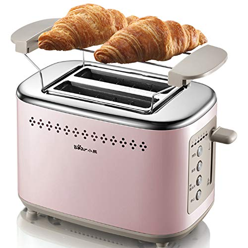 Toaster 2 Slice,Retro Rated Stainless Steel Toaster, Toaster with Extra-Wide Slot & with Removable Crumb Tray, Defrost/Reheat/Cancel Function, Small Toaster for Bread Waffles (Pink)