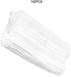 100ピース不織布使い捨て口マスク大人アンチヘイズマスク防塵口マスク防風口マスク - ホワイト