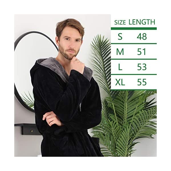 Men's Huge Hooded Long Bathrobe with Chest Button,Big Tall Fleece Housecoat Extra Lightweight and Warm