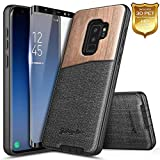 Galaxy S9+ Plus Case with Screen Protector (Full Coverage 3D PET), NageBee Premium [Natural Wood] Canvas Fabrics Shockproof Hybrid Defender Rugged Durable Case for Samsung Galaxy S9 Plus -Wood