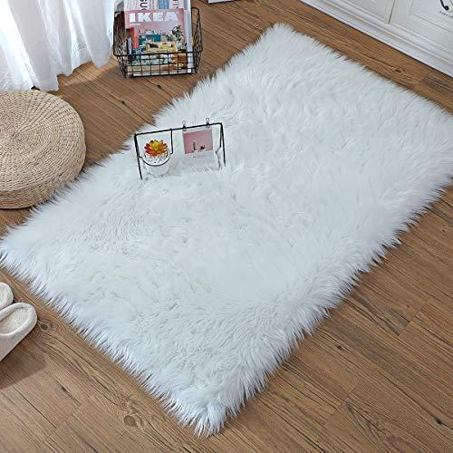 ZCZUOX Faux Schaffell Teppich, Faux Lammfell-Teppich Lang Kunstfell Schaffell Imitat Faux Bett-Vorleger Oder Matte für Stuhl Sofa for Wohnzimmer Schlafzimmer (Weiß, 75x120cm)