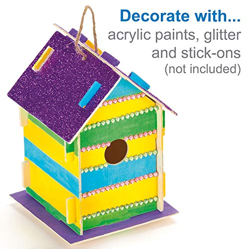 Baker Ross EF665 Wooden Birdhouse Kits (Pack Of 2) For Kids To Make & Decorate