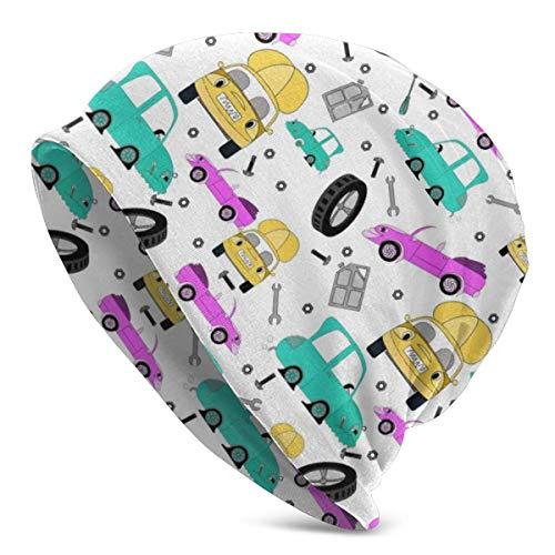 Taroot AA Dibujos Animados Lindo Colorido Coche Beanie Sombrero Ligero Holgado Holgado elástico Turbante para Hombres y Mujeres, Gorro de confinamiento Diademas