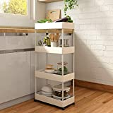 Bathroom Storage Cart, SAYZH 4-Tier Kitchen Utility Rolling Cart, Slide Out Storage Shelves Trolley,Lockable Wheels, Easy Assembly Organizer Cart for Home, Kitchen, Bathroom, Office