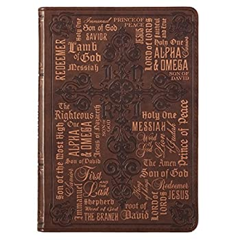 Christian Art Gifts Brown Faux Leather Journal Names Of Jesus John 1 14 Bible Verse Flexcover Inspirational Notebook w/Ribbon Marker and Lined Pages 6 x 8.5 Inches