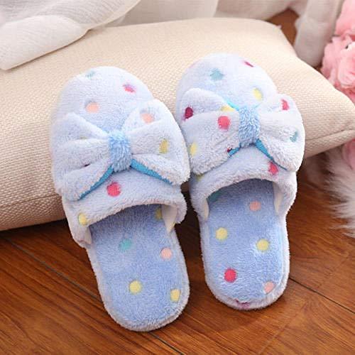 Hausschuhe Slipper Pantoffeln Damen Herren Winter Hausschuhe Frauen Zimmer Schuhe Für Frauen Schöne Indoor House Frauen Folien Frauen-Bogen-Blau_Eur_38_-_ Asia_39
