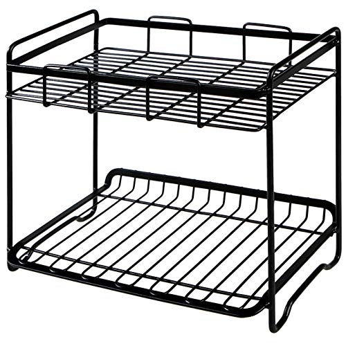ZJM Counter Shelf Organizer,Cupboard Organiser Kitchen Shelf Organiser,Plate Rack And Microwave Shelf Cupboard Shelf Stackable For Food,Kitchen Accessories And Utensils Pantry Organisers 2 Pack