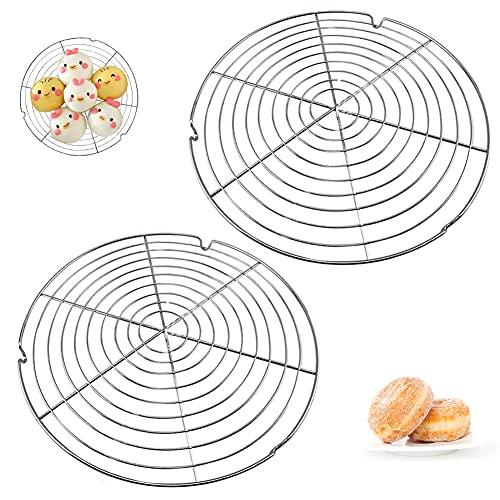 Abkühlgitter,2 Stück Rund Kuchen Kuchenrost 30.5cm,Rostschutzmetall Kuchenauskühler,Kuchengitter für gleichmäßiges und schnelles Auskühlen Tortenkühler Leichte Lösbarkeit der Gebäcke