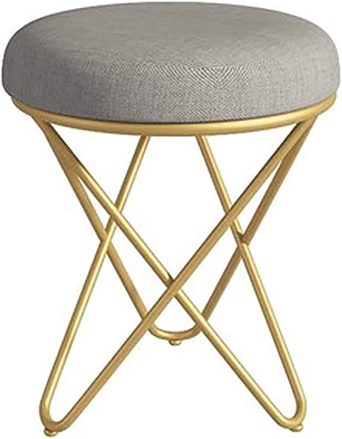 Small Round Stool Makeup Stool Dressing Table Chair Household Stool Soft Surface Modern Minimalist Short Iron Stool
