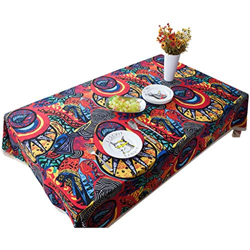 XIANWEI Retro Printed Tablecloth Splash-proof Tablecloth Rectangular Lace Table Cover Home Decoration Desktop Protection Stickers In Various Sizes (Size : 120X120CM)
