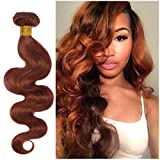 Benehair Human Hair Bundle Body Wave Sew in 20 inches 1 Bundle 100g Dark Auburn Remy Hair Weave for Afro American Women #33 20' Brazilian Hair Weft Extension