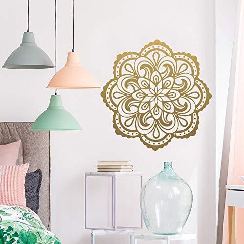 LSMYE Mandala Vinyl Wandaufkleber Kreative Kinderzimmer Wohnzimmer Home Decor Vinyl Aufkleber Wandbild Yoga Wallpaper Gold XL 57cm X 57cm