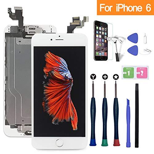 Xlhama Touchscreen LCD Display für iPhone 6 weiß mit Home-Button, Frontkamera, Proxidationssensor, Lautsprecher, Werkzeuge und Folie aus Hartglas