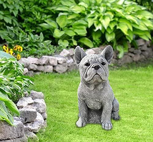 Eeneme Perro de Piedra Figuras jardín,Estatua Perro Adorno terraza jardín finca rústica, Figura de Cachorro de Bulldog francés,Figura de Perro Decorativa para Jardín o Exterior