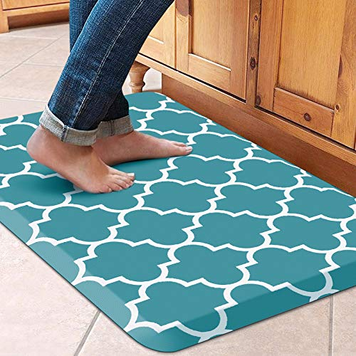 """WISELIFE Kitchen Mat Cushioned Anti-Fatigue Kitchen Rug,17.3""""x 28"""",Non Slip Waterproof Kitchen Mats and Rugs Heavy Duty PVC Ergonomic Comfort Mat for Kitchen, Floor Home, Office, Sink, Laundry, Green"""