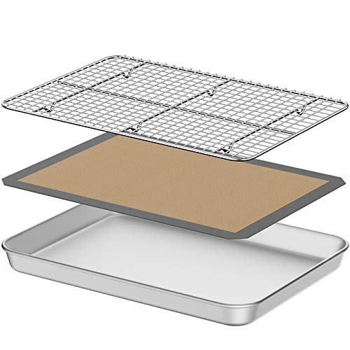 Baking Sheet with Silicone Mat, Umite Chef 18 inch Cookie Sheet Baking Pan, Non Toxic Silicone Baking Mat & Stainless Steel Cooling Rack Heavy Duty & Easy Clean