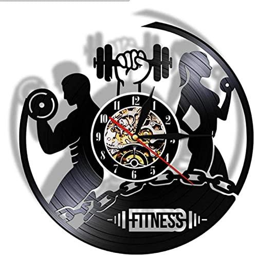 Reloj de Pared Fitness Vinilo Record Reloj Deporte Cuerpo Salud Hecho A Mano Deportes Gimnasio Arte de la Pared Bodybuilding Habitación Decoración Dumbbell Vintage Redondo Reloj