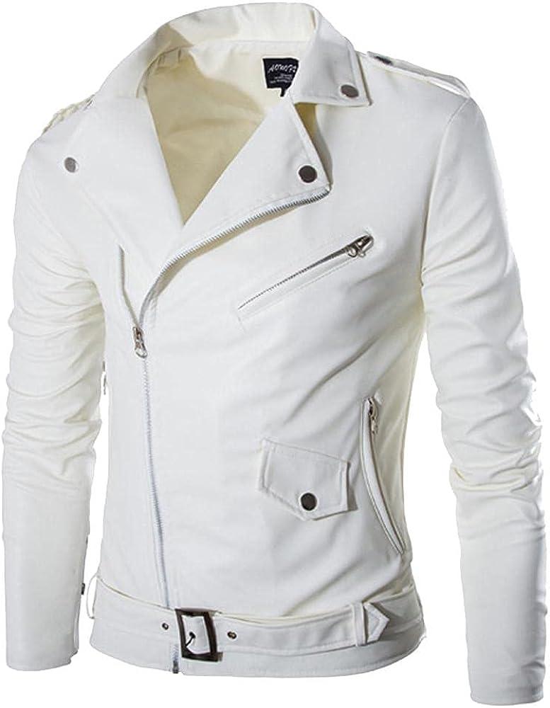 Men's Casual Faux Leather Bomber Jacket Hipster Stand Collar Zip-Up Windbreaker Motorcycle Biker Jacket Coats