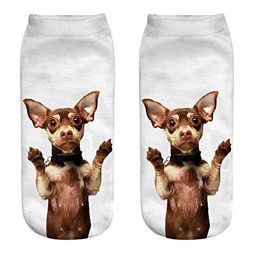 ZZBO Niedliche Söckchen 3D Cartoon Dog Hund Gedruckt Kurze Socken Frau Mode Fußkettchen Socken Lustige Lässige Socken Unisex Mann Frau