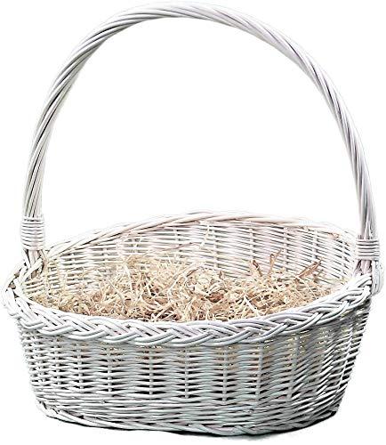 Alpenfell Geschenkkorb aus Weide in 4 Größen, Weidenkorb Bügelkorb Geschenkkorb Präsentkorb Osterkorb mit Griff, Handarbeit, sehr stabil (Klein)